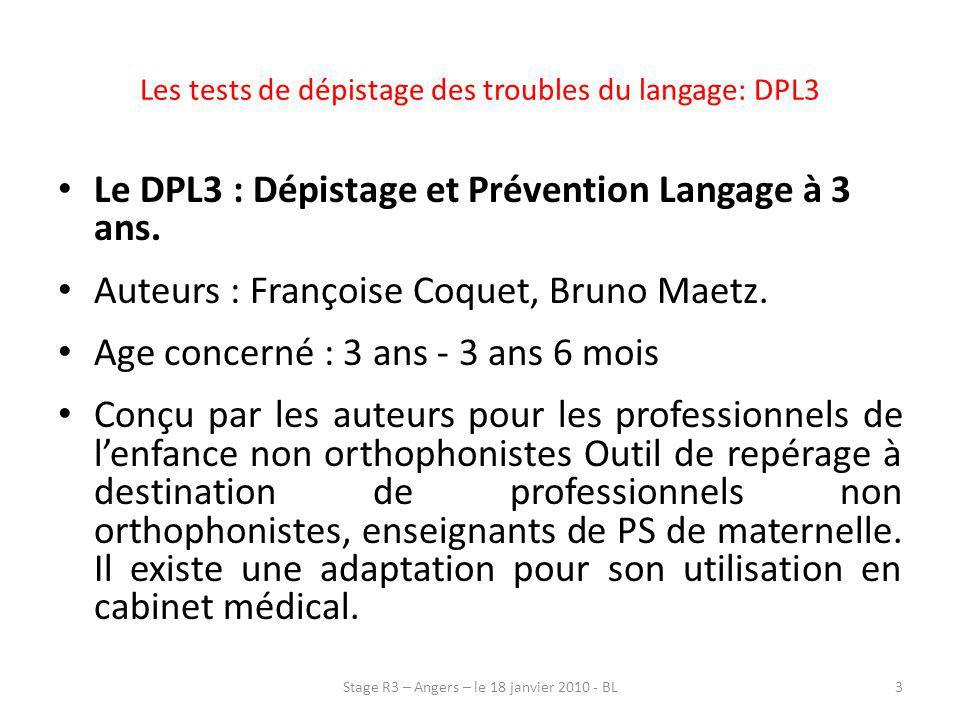 Les tests de dépistage des troubles du langage: DPL3
