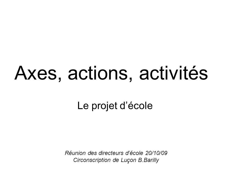 Axes, actions, activités