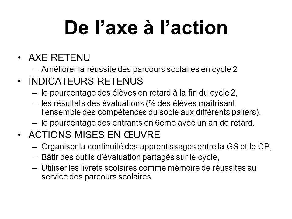De l'axe à l'action AXE RETENU INDICATEURS RETENUS