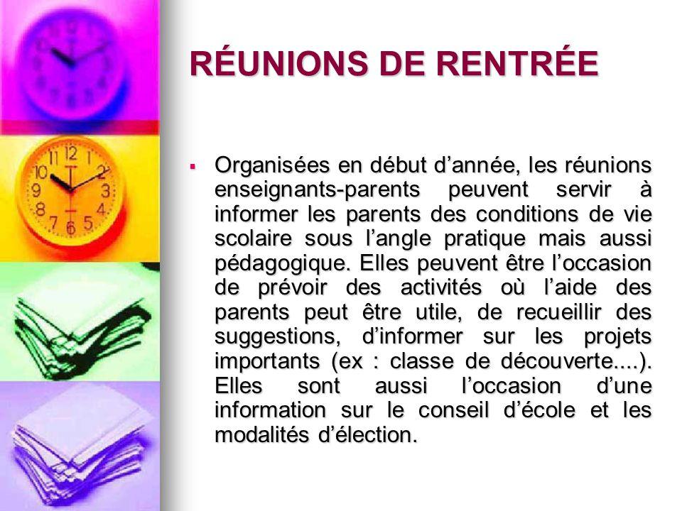 RÉUNIONS DE RENTRÉE