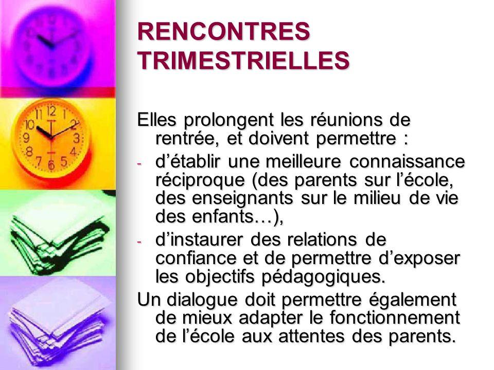 RENCONTRES TRIMESTRIELLES