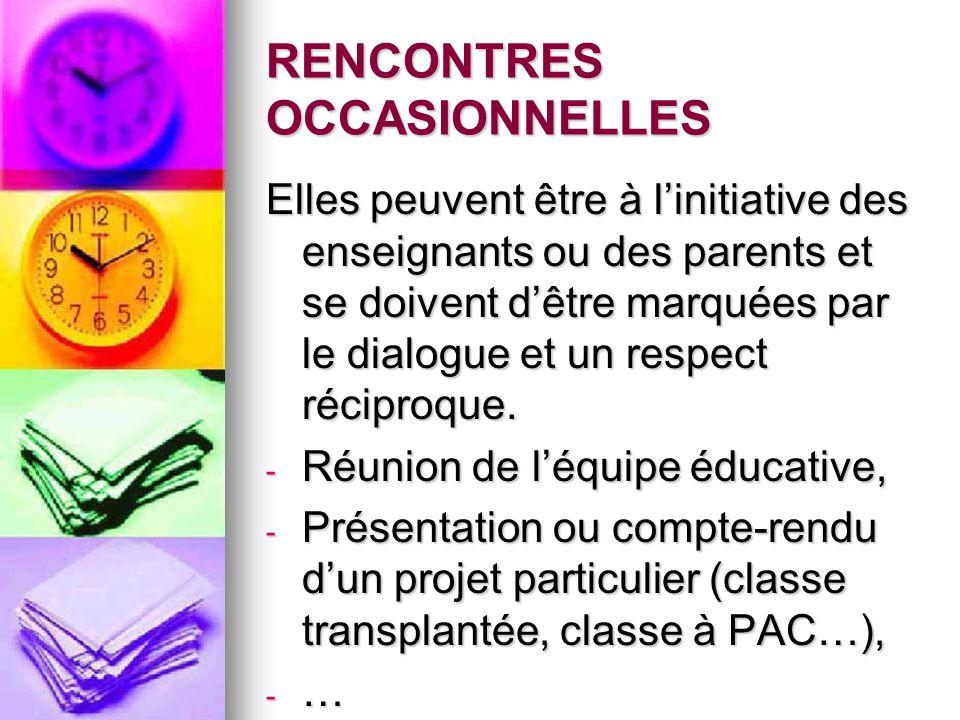 RENCONTRES OCCASIONNELLES