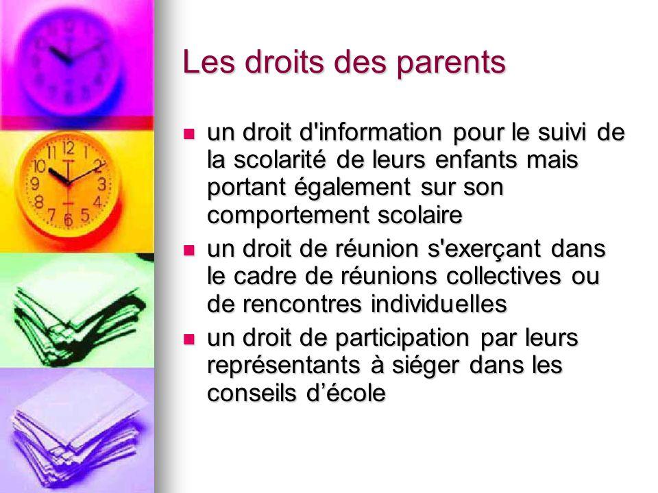 Les droits des parents un droit d information pour le suivi de la scolarité de leurs enfants mais portant également sur son comportement scolaire.