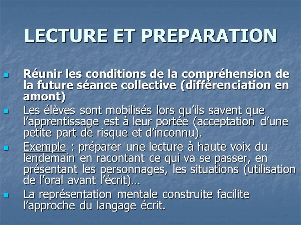 LECTURE ET PREPARATION