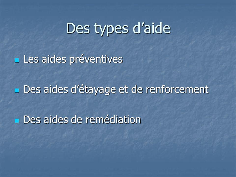 Des types d'aide Les aides préventives