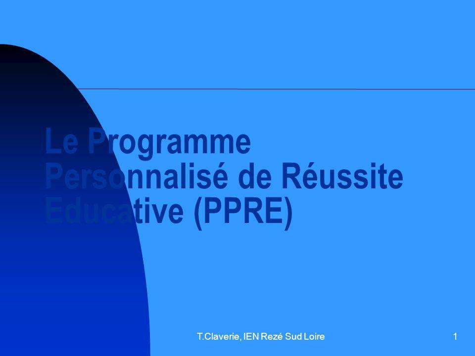 Le Programme Personnalisé de Réussite Educative (PPRE)