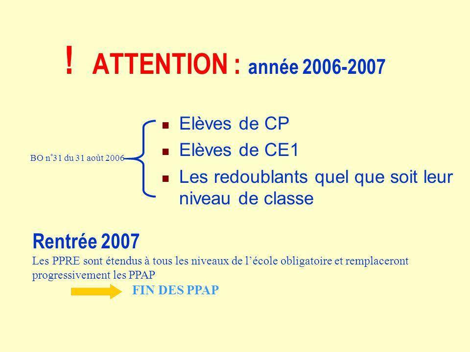 ! ATTENTION : année 2006-2007 Rentrée 2007 Elèves de CP Elèves de CE1