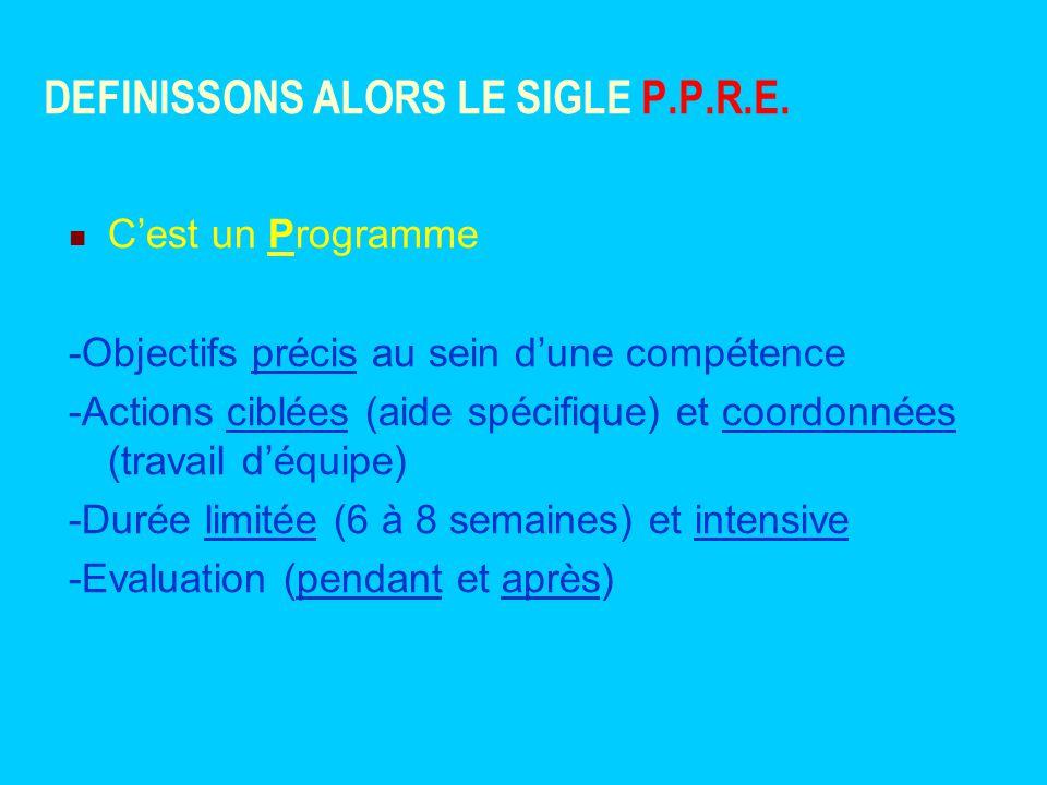 DEFINISSONS ALORS LE SIGLE P.P.R.E.