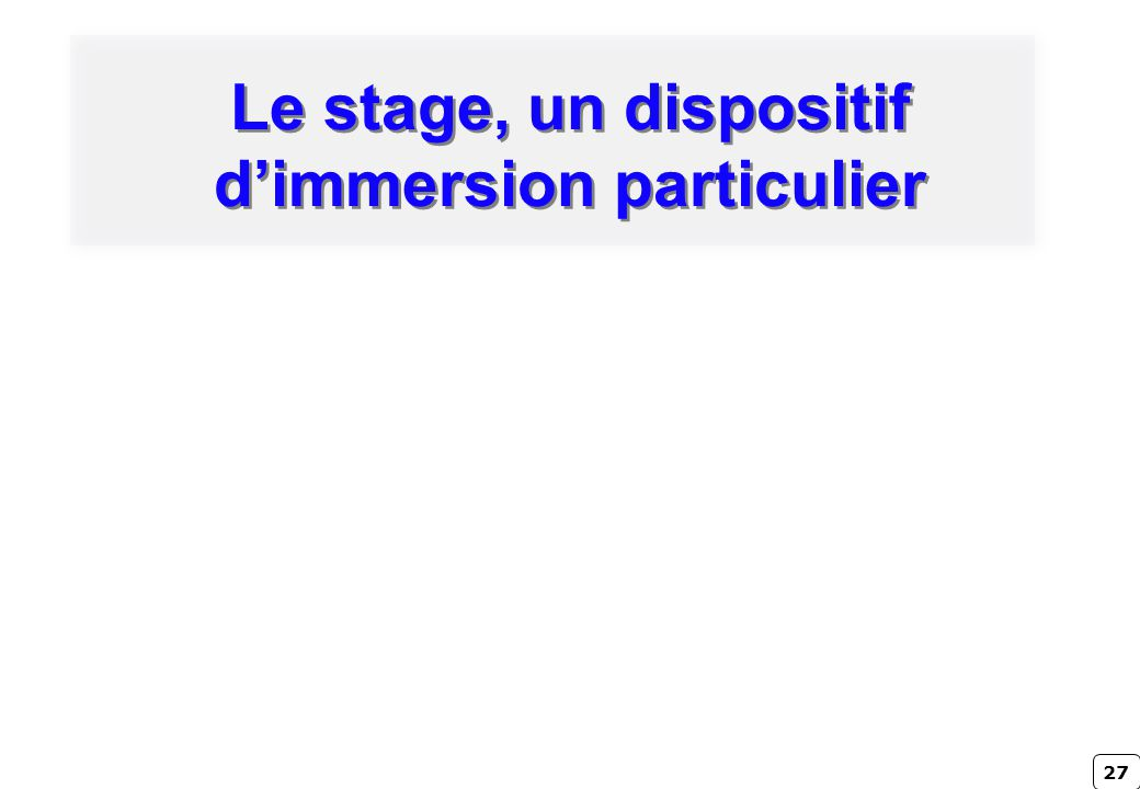 Le stage, un dispositif d'immersion particulier