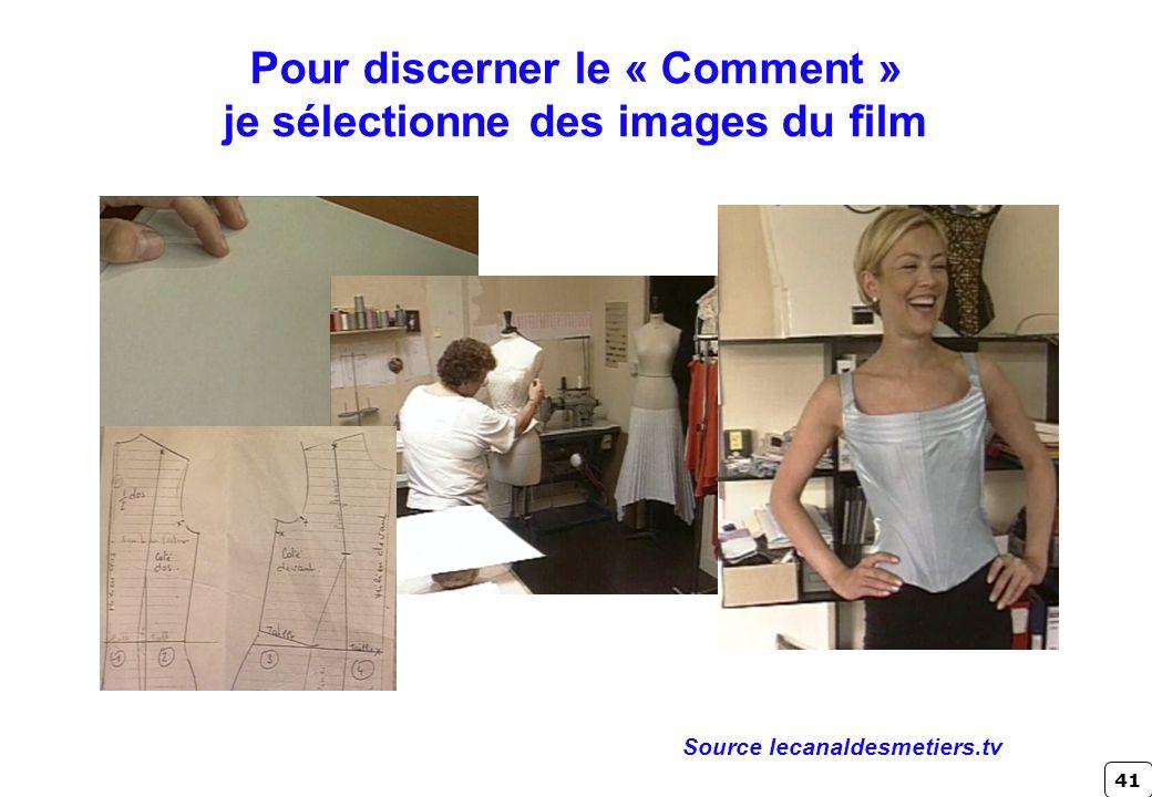 Pour discerner le « Comment » je sélectionne des images du film