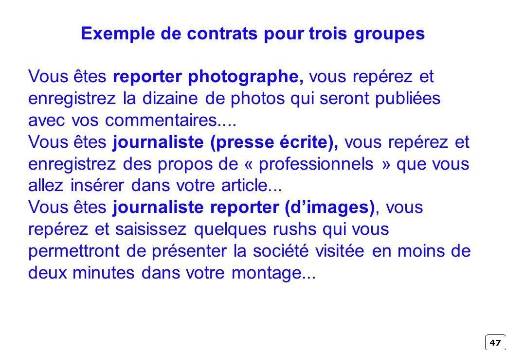 Exemple de contrats pour trois groupes