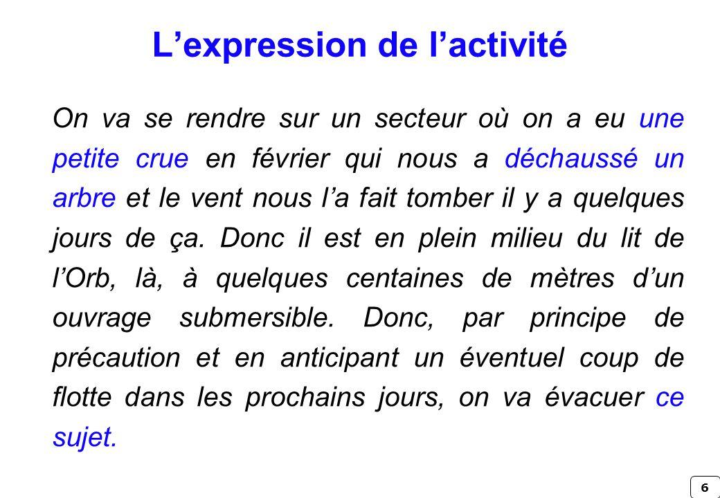L'expression de l'activité