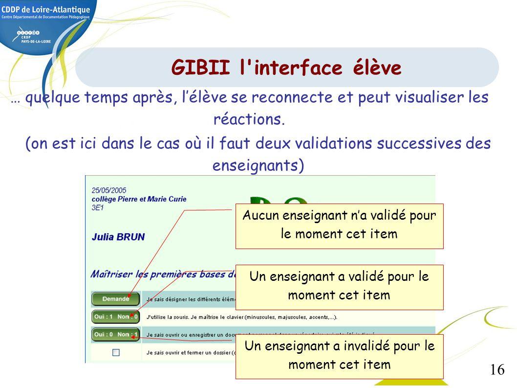 GIBII l interface élève