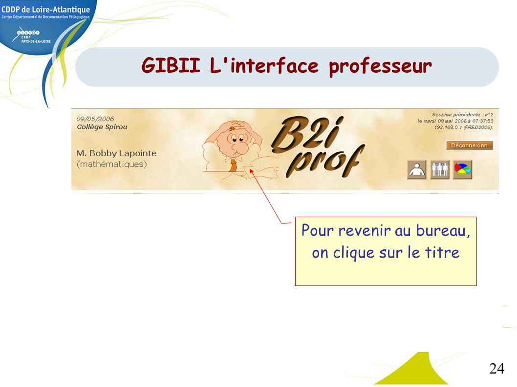 GIBII L interface professeur