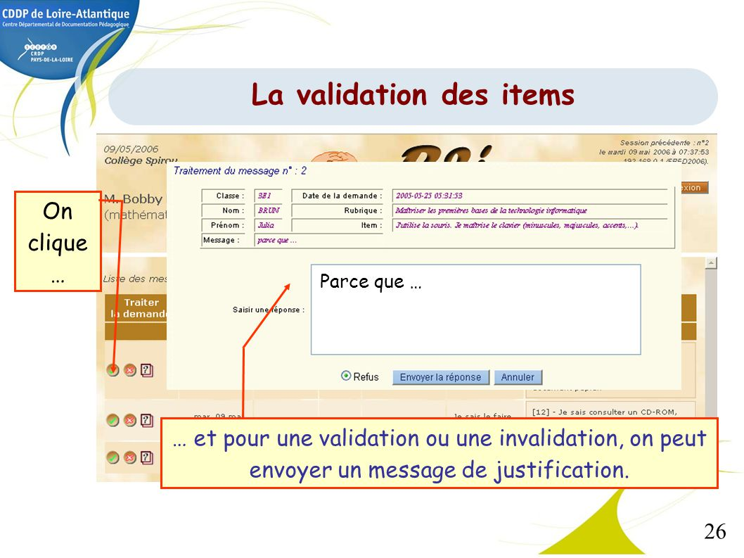 La validation des items