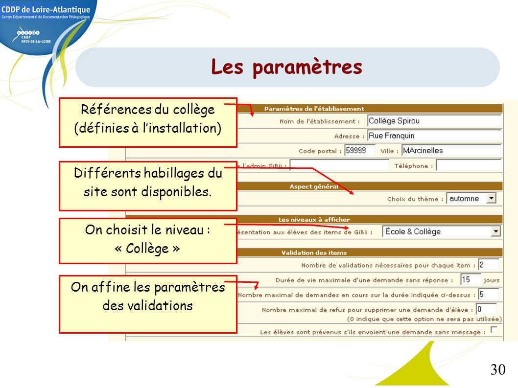 Les paramètres Références du collège (définies à l'installation)