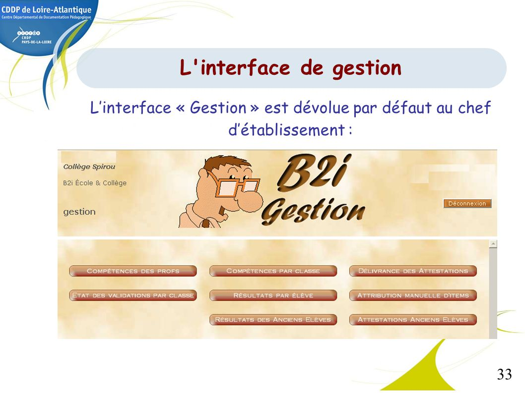 L interface de gestion L'interface « Gestion » est dévolue par défaut au chef d'établissement :