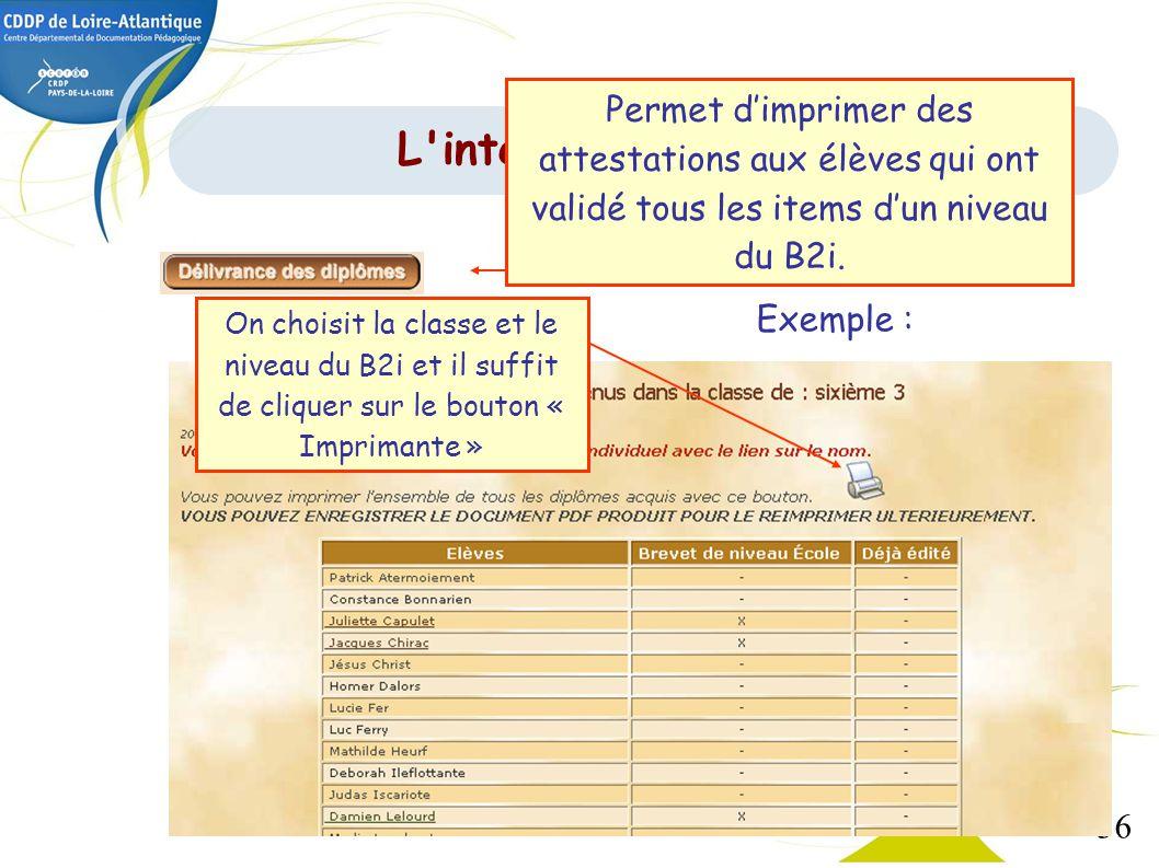 Permet d'imprimer des attestations aux élèves qui ont validé tous les items d'un niveau du B2i.