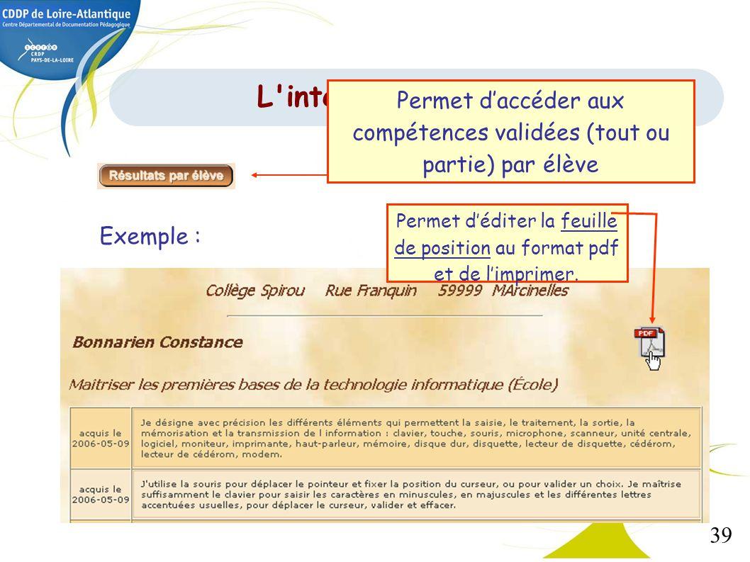 L interface de gestion Permet d'accéder aux compétences validées (tout ou partie) par élève.