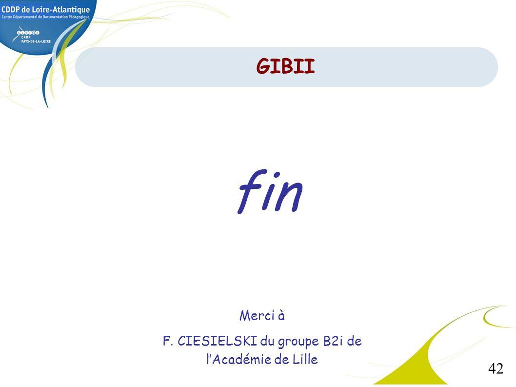 F. CIESIELSKI du groupe B2i de l'Académie de Lille