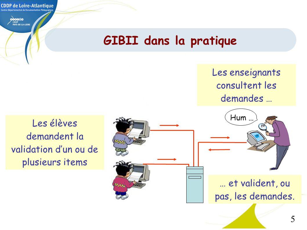 GIBII dans la pratique Les enseignants consultent les demandes …