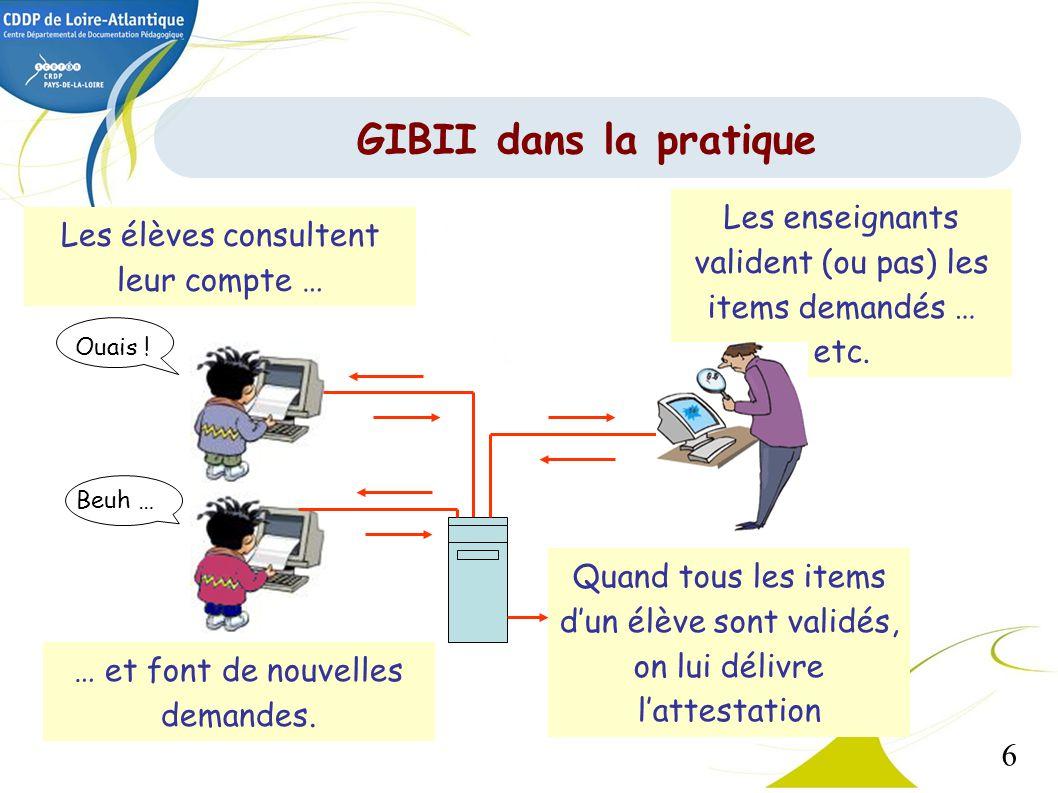 GIBII dans la pratique Les enseignants valident (ou pas) les items demandés … etc. Les élèves consultent leur compte …