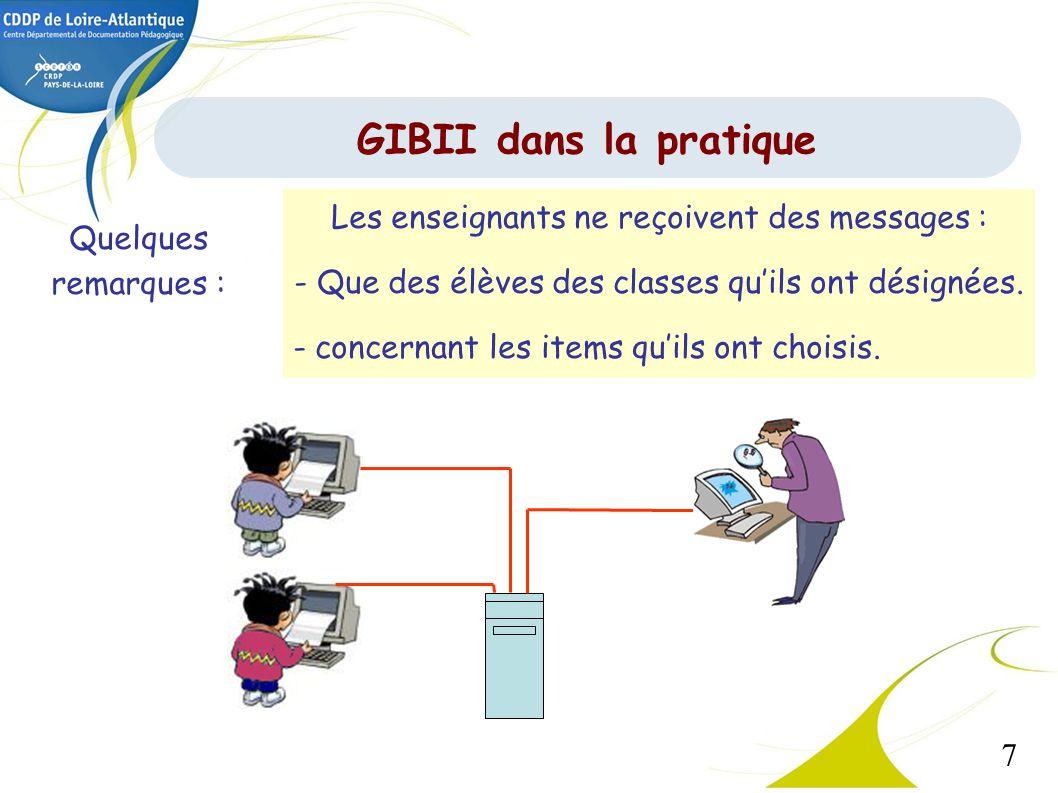 GIBII dans la pratique Les enseignants ne reçoivent des messages :