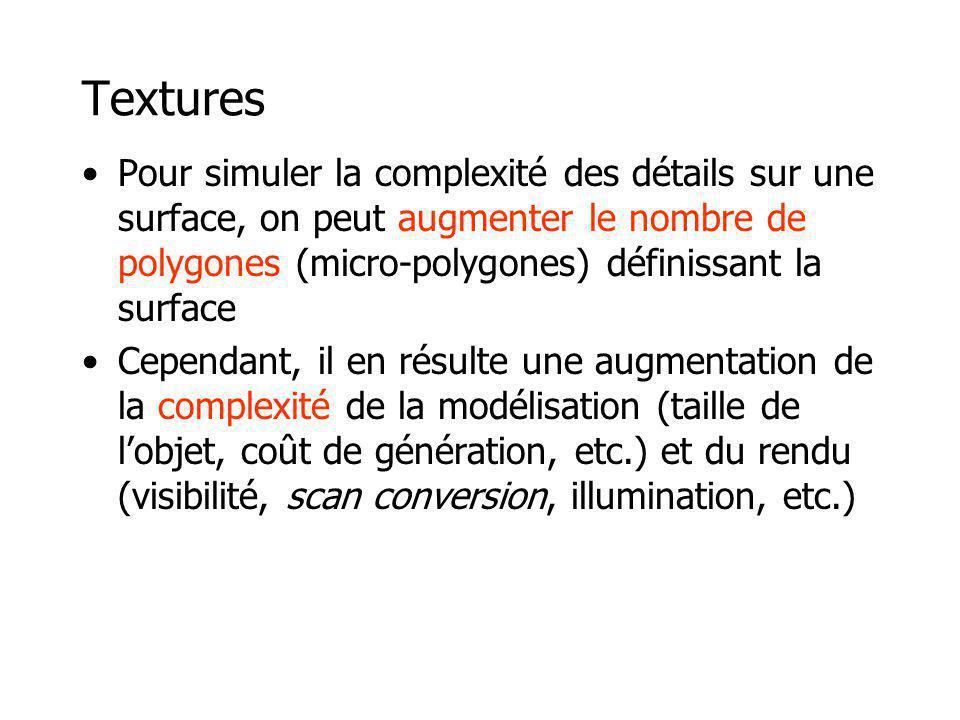 Textures Pour simuler la complexité des détails sur une surface, on peut augmenter le nombre de polygones (micro-polygones) définissant la surface.