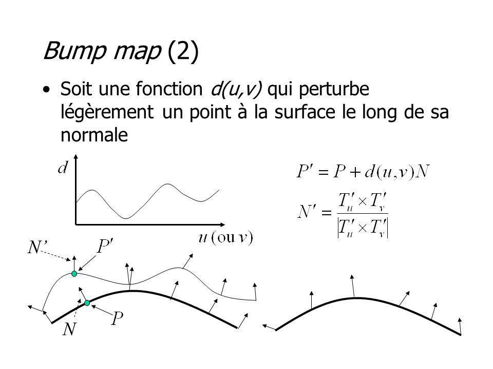 Bump map (2) Soit une fonction d(u,v) qui perturbe légèrement un point à la surface le long de sa normale.
