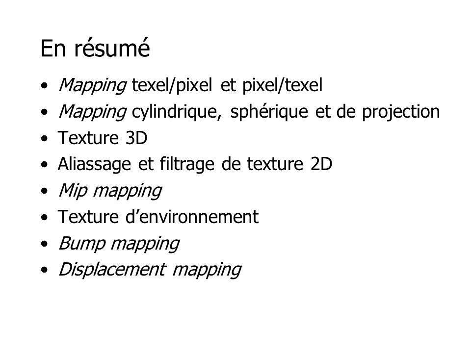 En résumé Mapping texel/pixel et pixel/texel