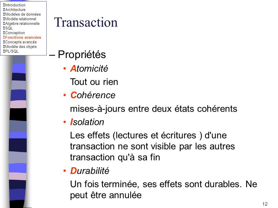Transaction Propriétés Atomicité Tout ou rien Cohérence