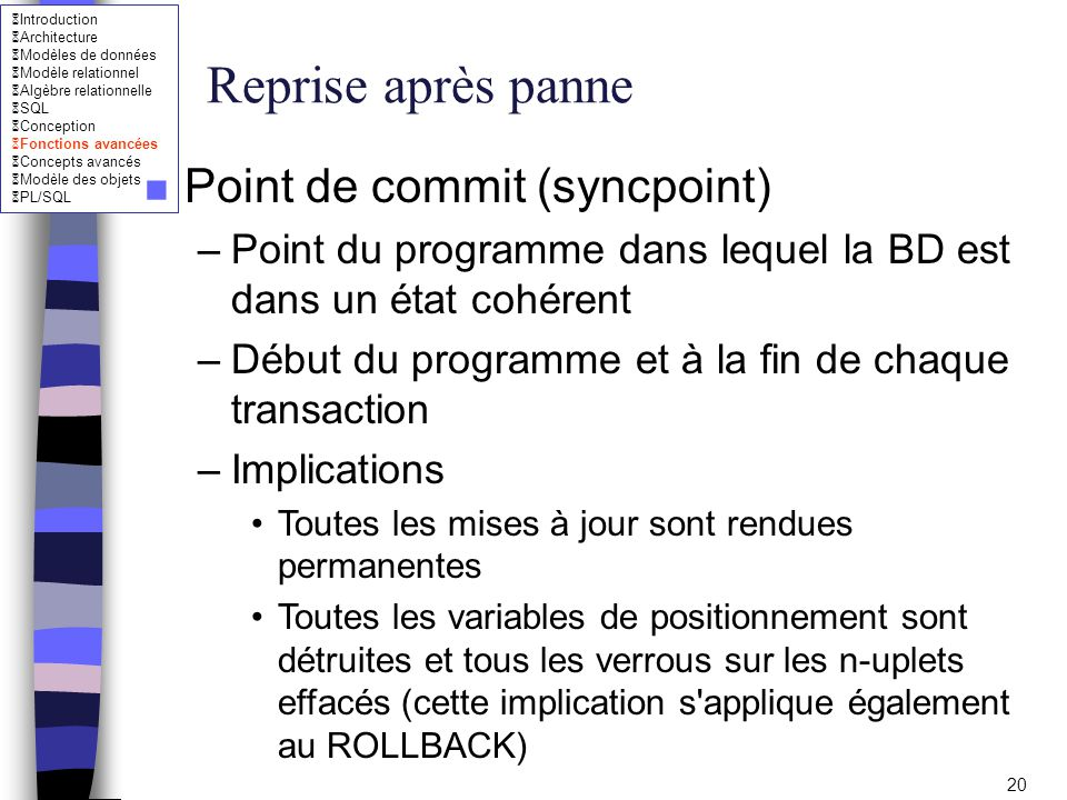 Reprise après panne Point de commit (syncpoint)