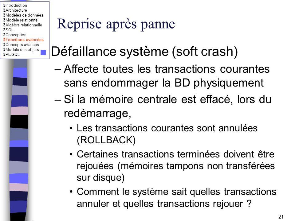 Reprise après panne Défaillance système (soft crash)