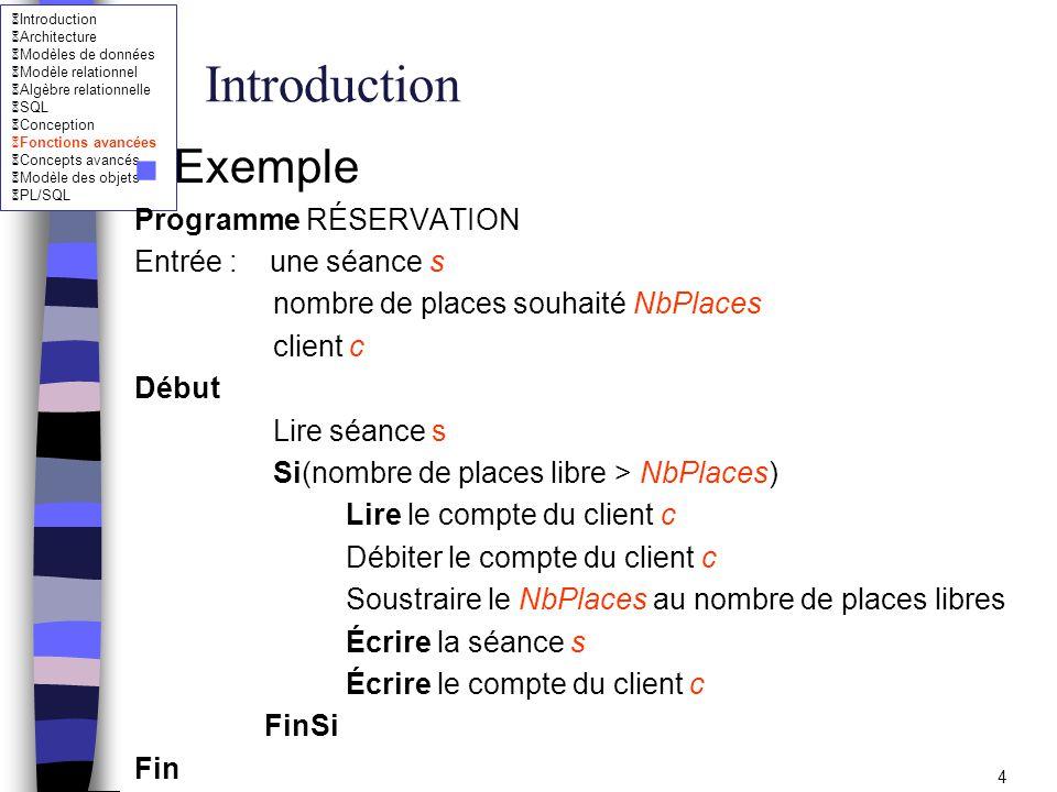 Introduction Exemple Programme RÉSERVATION Entrée : une séance s
