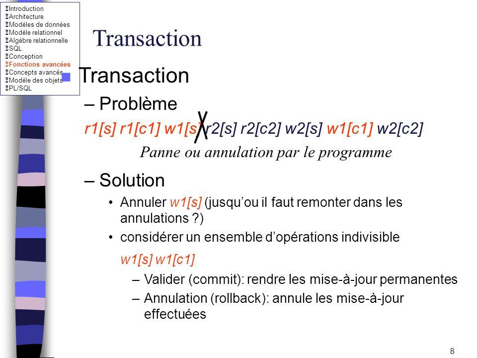 Transaction Transaction Problème Solution