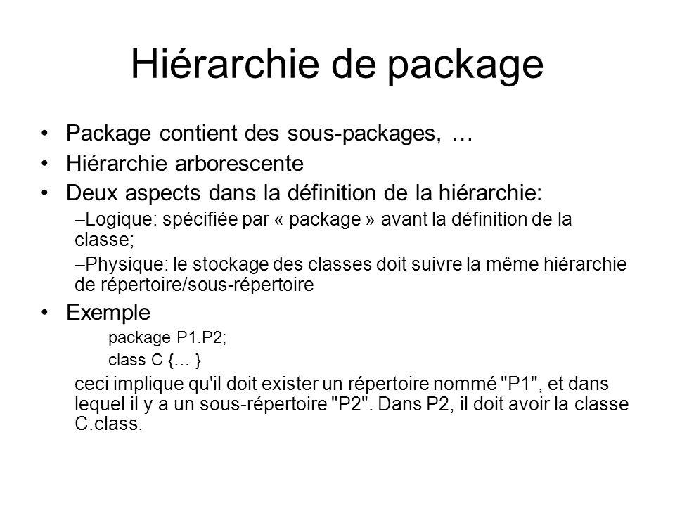 Hiérarchie de package Package contient des sous-packages, …