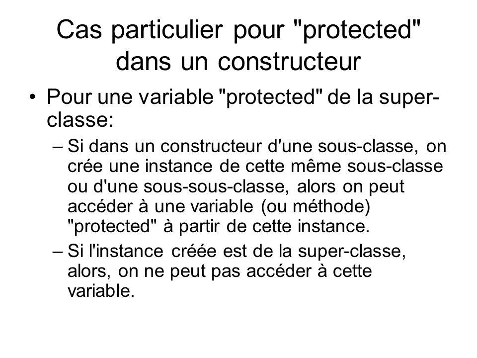 Cas particulier pour protected dans un constructeur