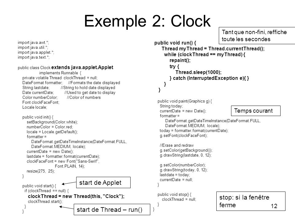 Exemple 2: Clock start de Applet stop: si la fenêtre ferme