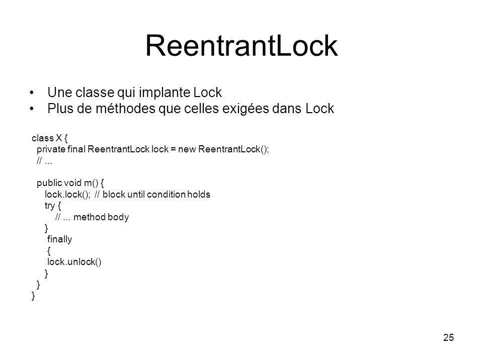ReentrantLock Une classe qui implante Lock