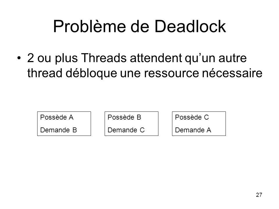 Problème de Deadlock 2 ou plus Threads attendent qu'un autre thread débloque une ressource nécessaire.