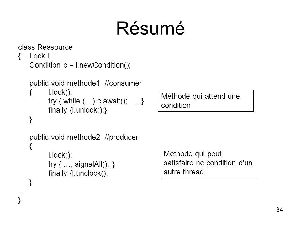 Résumé class Ressource { Lock l; Condition c = l.newCondition();
