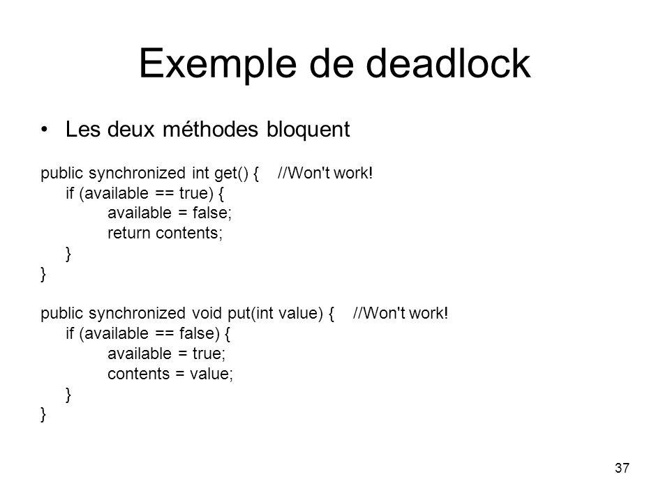 Exemple de deadlock Les deux méthodes bloquent