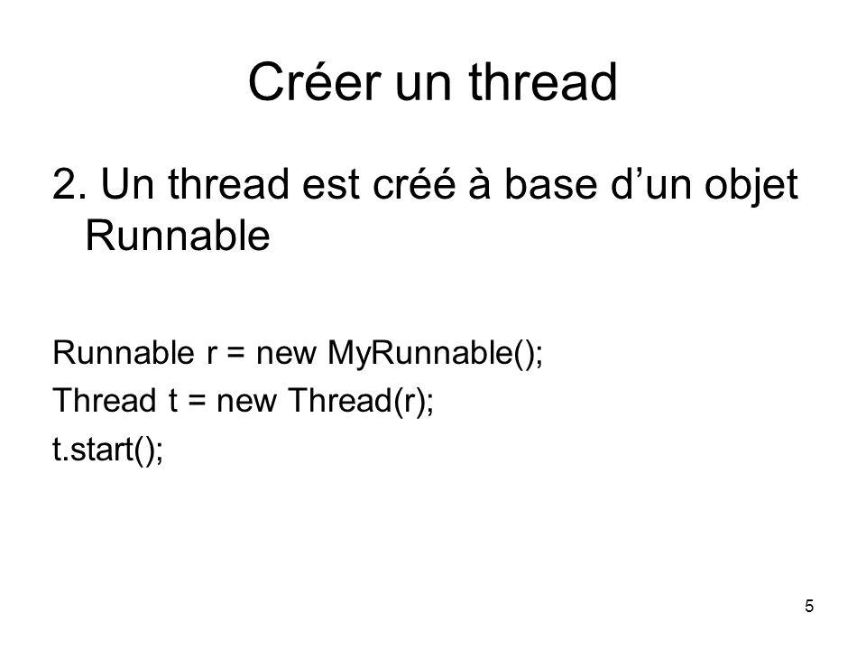 Créer un thread 2. Un thread est créé à base d'un objet Runnable