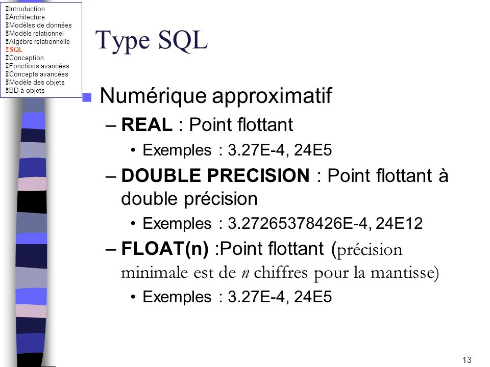 Type SQL Numérique approximatif REAL : Point flottant
