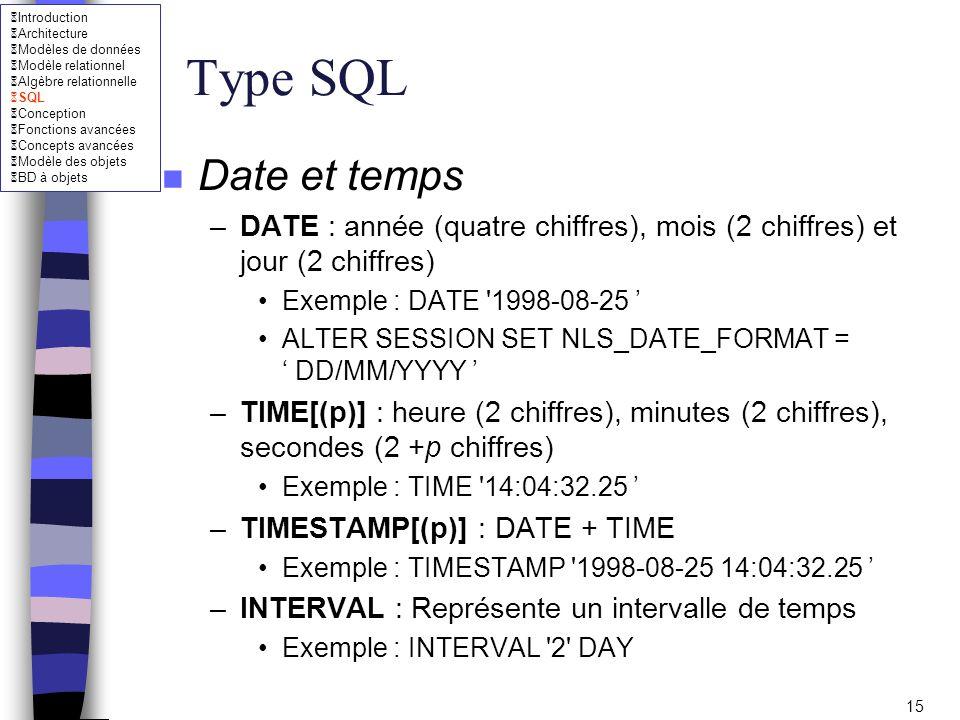 Type SQL Date et temps. DATE : année (quatre chiffres), mois (2 chiffres) et jour (2 chiffres) Exemple : DATE 1998-08-25 '