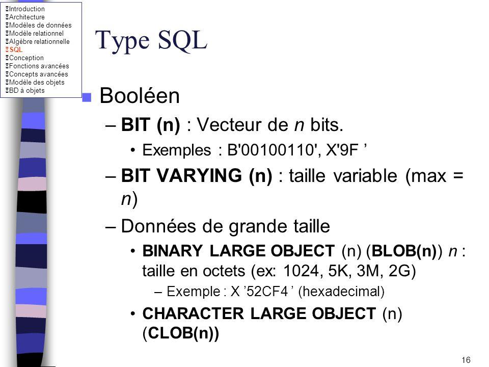 Type SQL Booléen BIT (n) : Vecteur de n bits.