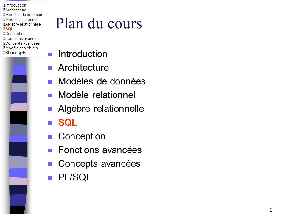 Plan du cours Introduction Architecture Modèles de données