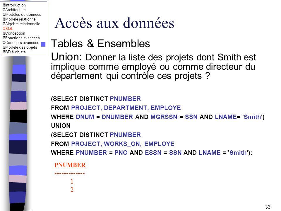 Accès aux données Tables & Ensembles