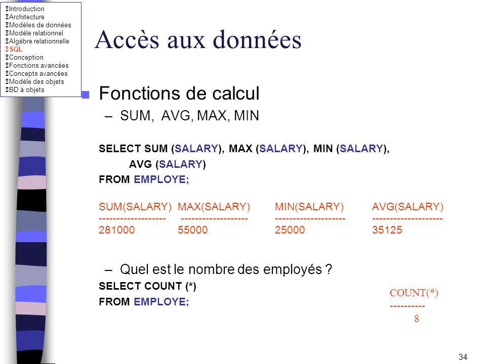 Accès aux données Fonctions de calcul SUM, AVG, MAX, MIN