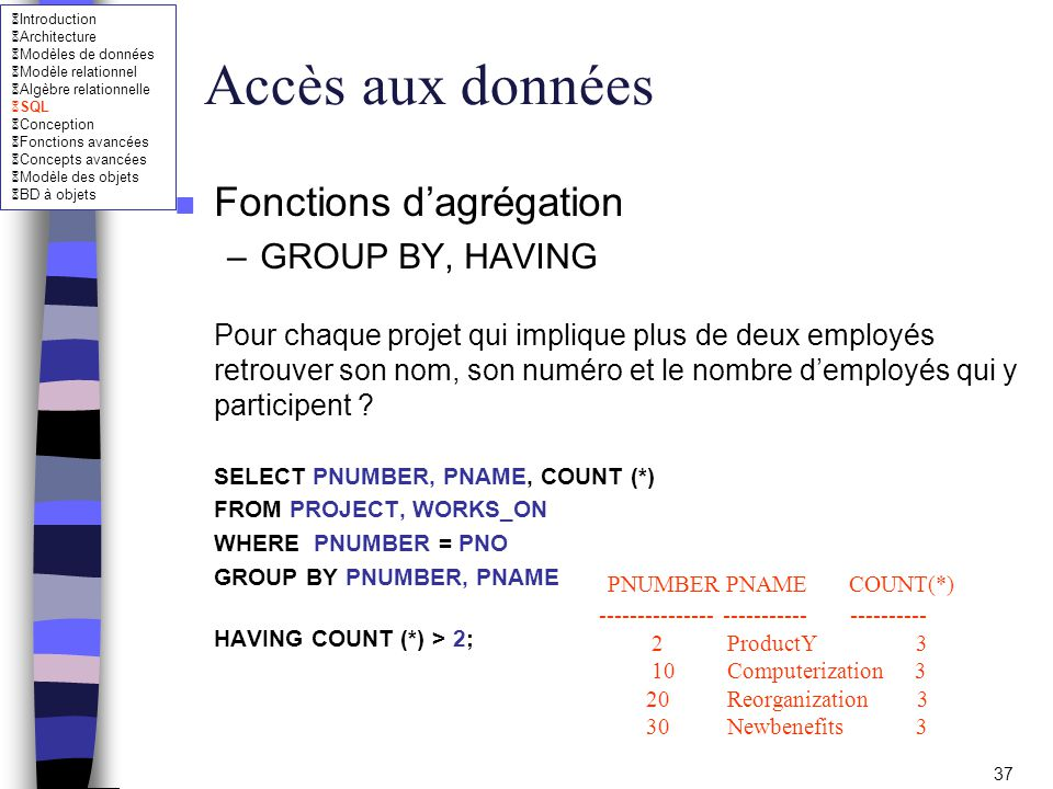 Accès aux données Fonctions d'agrégation GROUP BY, HAVING
